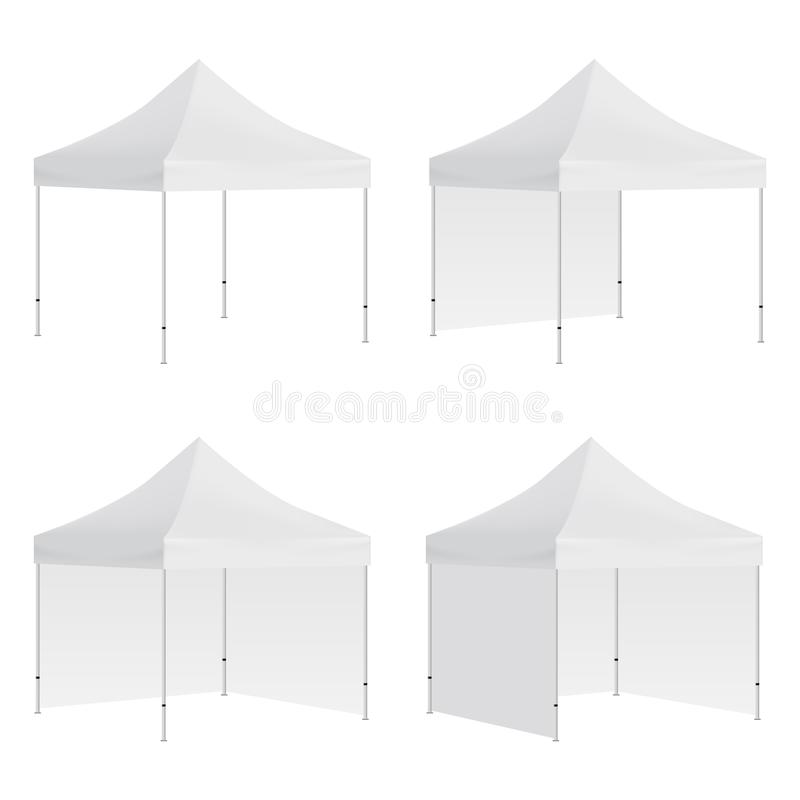 Set of outdoor canopy tents mockups isolated. On white background. Vector illustration royalty free illustration