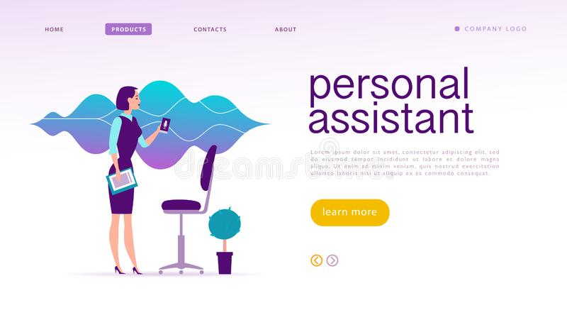Vector flat personal online assistant illustration. Landing page design. Office girl with smartphone microphone dynamic icon, sound waves. UI, UX, mobile app royalty free illustration