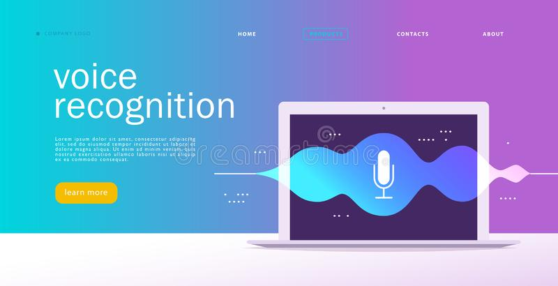 Vector flat voice recognition illustration. Landing page design. Laptop screen with sound waves and microphone dynamic icon. stock illustration