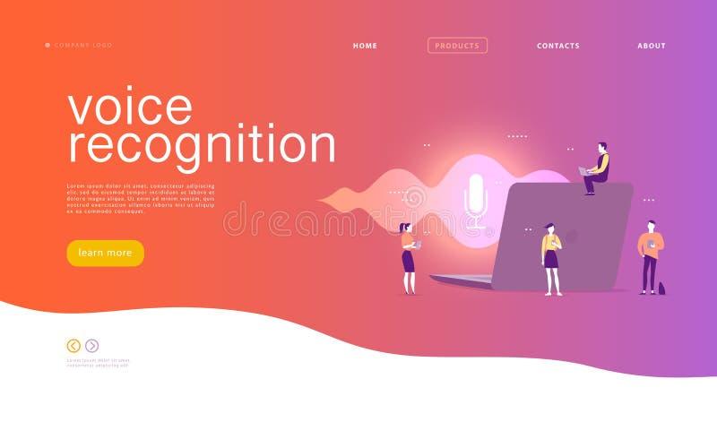 Vector flat voice recognition illustration. stock illustration