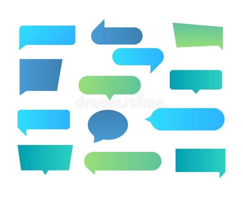 Думаемые формы Пузыри речи текстовый чата прямоугольные, форма беседы разговора, форма диалога плоская Пузыри текста вектора бесплатная иллюстрация