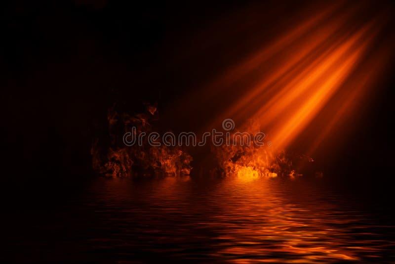 Дым фары огня с отражением в воде Предпосылка текстуры тумана тайны иллюстрация вектора