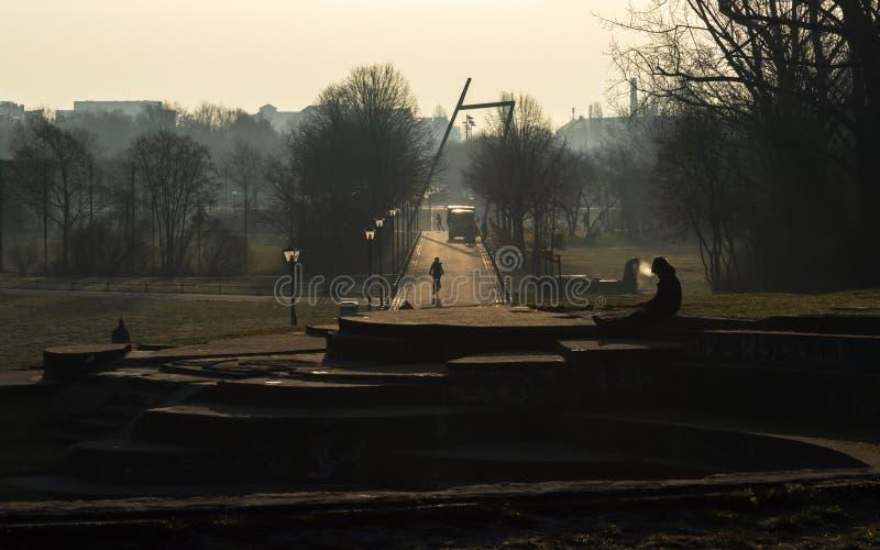 Дыхание в парке Goerlitzer на утре зимы стоковые изображения
