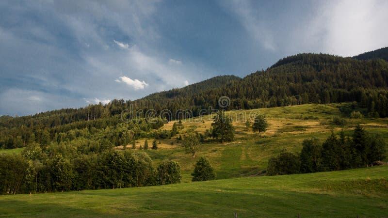 Драматическое небо над холмом луга стоковые изображения rf