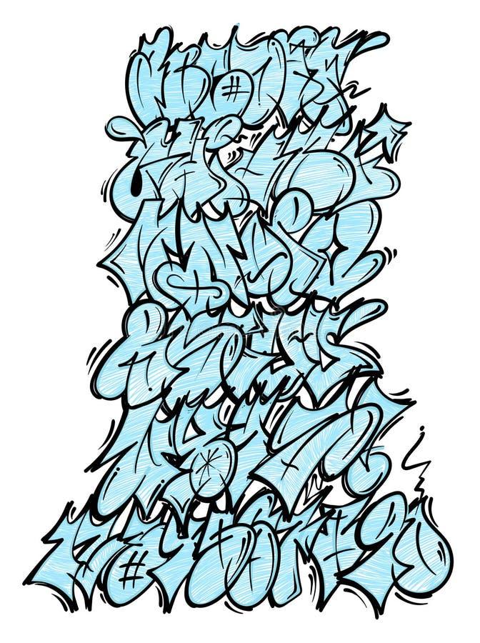 Graffiti lettering alphabet royalty free illustration