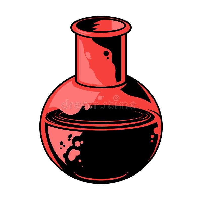 Flask for extract. Flask with special chemical extract solution. Vintage graphic design drawing illustration for print t shirt poster patch sticker icon logo stock illustration