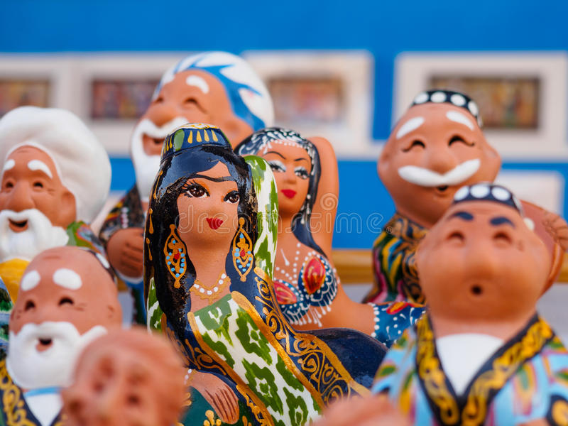 Ð ¡在布哈拉市场,乌兹别克斯坦放置小雕象 免版税库存照片