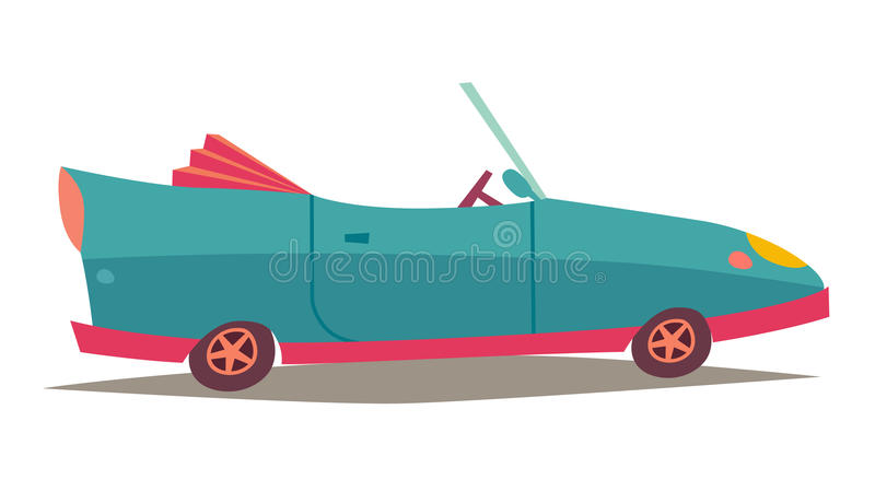 Ð ¡ abriolet wektor Błękitny samochód, pojazdu transport Nowożytnego kabrioletu boczny widok royalty ilustracja