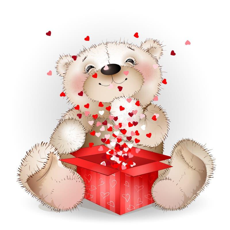 Ð  appy熊在有许多的一个礼物盒得到了心脏2 向量例证