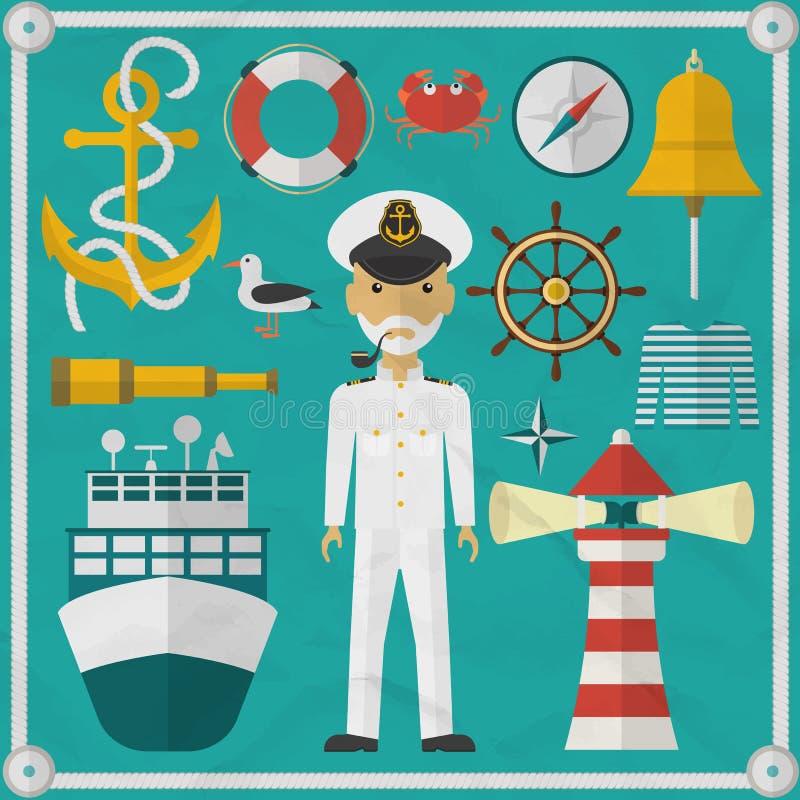 Ð ¡ aptain,水手,平样式字符和船舶 库存例证