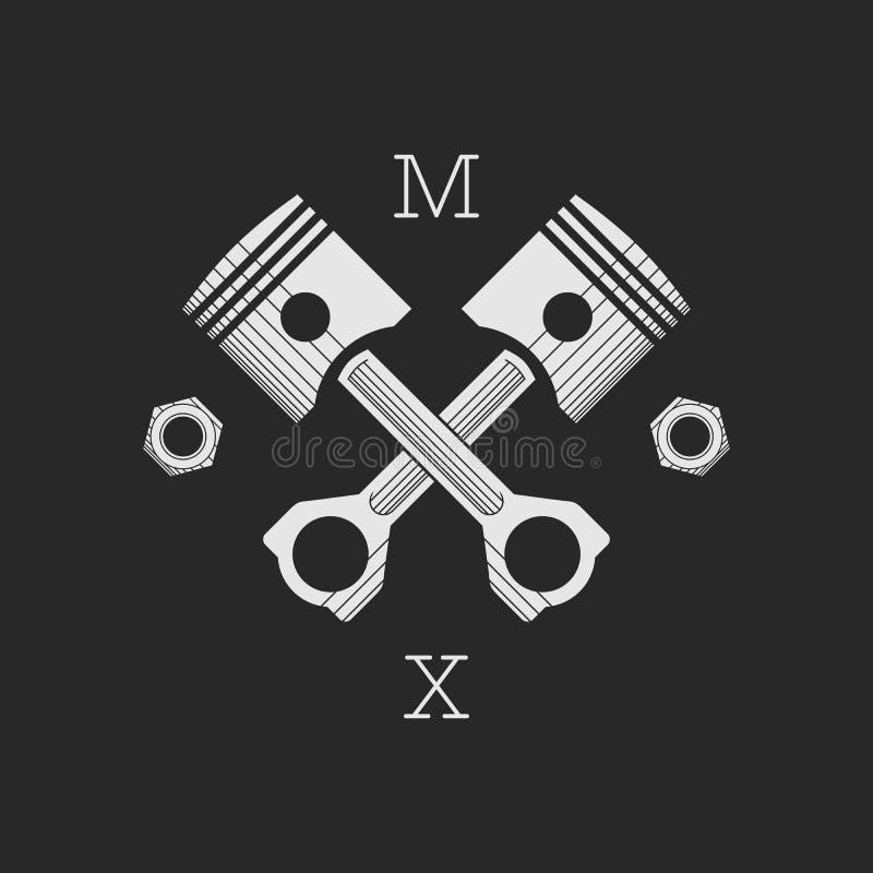 Ð ¡ ar lub roweru loga warsztatowy szablon royalty ilustracja