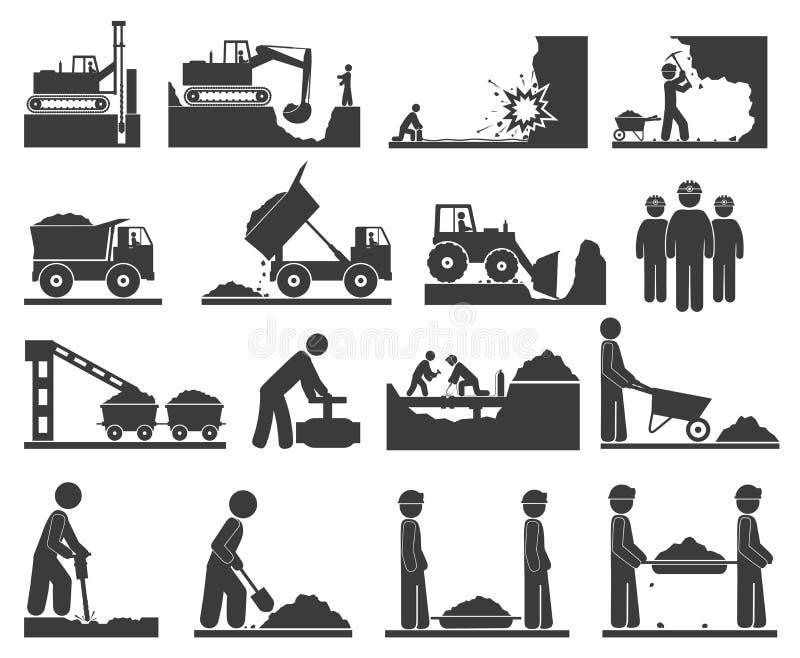 Ð ¡ de pictogrammen die van onstructiongrondwerken en steenkool, olie ontginnen uithakken royalty-vrije illustratie