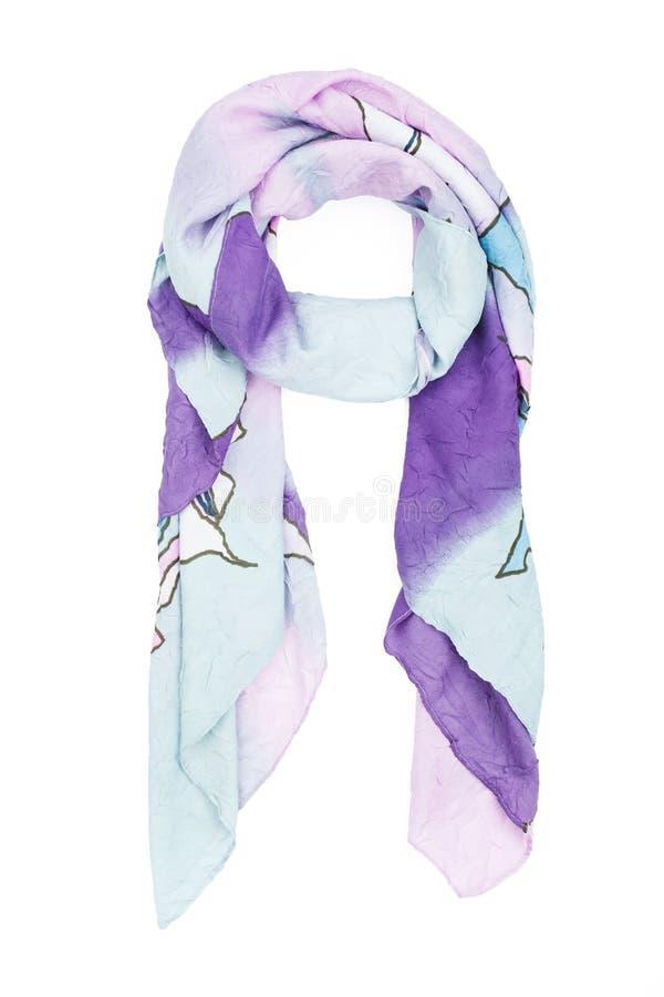 а-Halstuchseide mit einem blauen dekorativen Muster, lokalisiert auf einem weißen Hintergrund stockbild