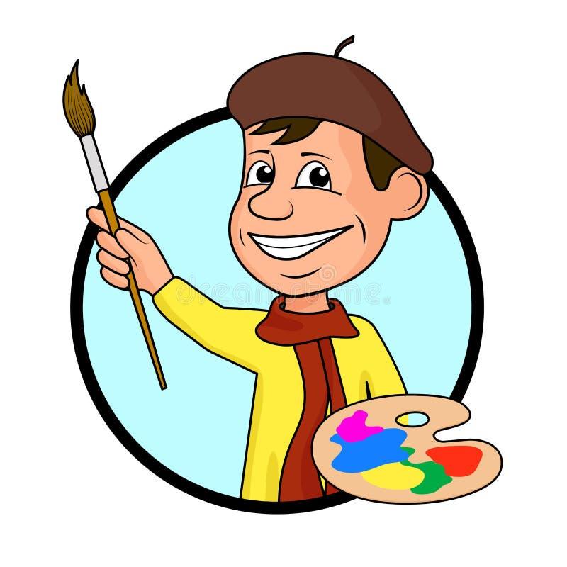 Ð ¡ heerful artysta z muśnięciem i farbami ilustracja wektor