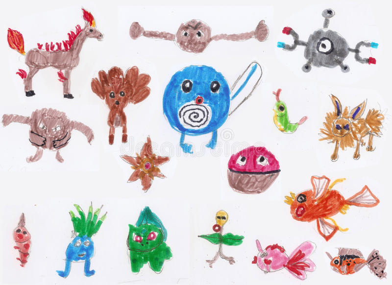 Ð ¡ hildrens rysunków pokemon royalty ilustracja