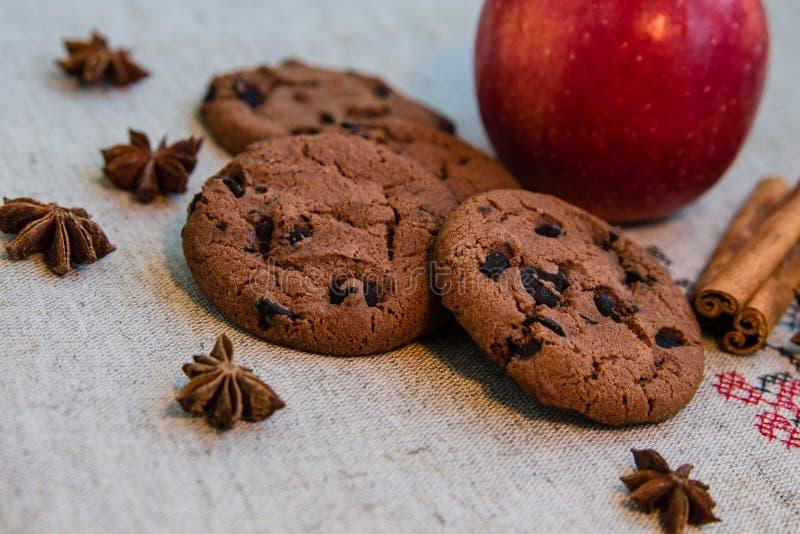 Ð-¡ hocolate Plätzchen mit Zimt, Apfel und Anis lizenzfreies stockfoto