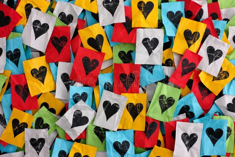 Ð ¡ miętosił Ñ  olorful kawałki papieru z sercami obraz stock