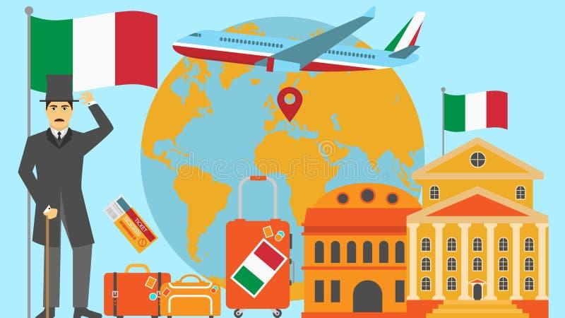 Добро пожаловать к открытке Италии Концепция перемещения и сафари иллюстрации вектора карты мира Европы с национальным флагом иллюстрация вектора