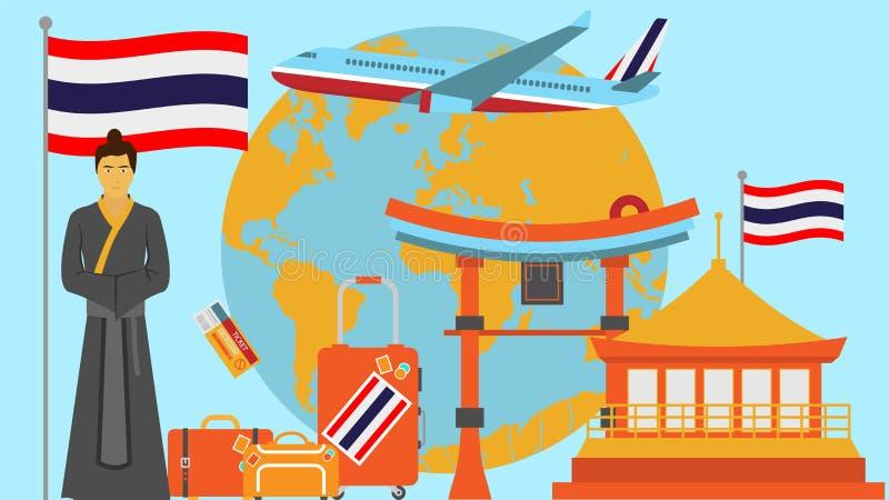 Добро пожаловать к открытке Таиланда Концепция перемещения и сафари иллюстрации вектора карты мира Азии с национальным флагом бесплатная иллюстрация