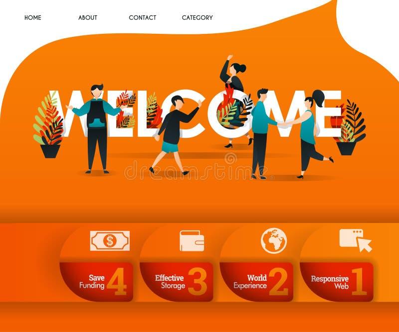 ДОБРО ПОЖАЛОВАТЬ слово с оранжевой темой и сериями людей вокруг может использовать для, приземляться страница, шаблон, ui, сеть,  иллюстрация вектора