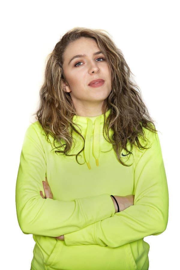Довольно, молодая, белокурая женщина с осторожным выражением стоковое изображение rf