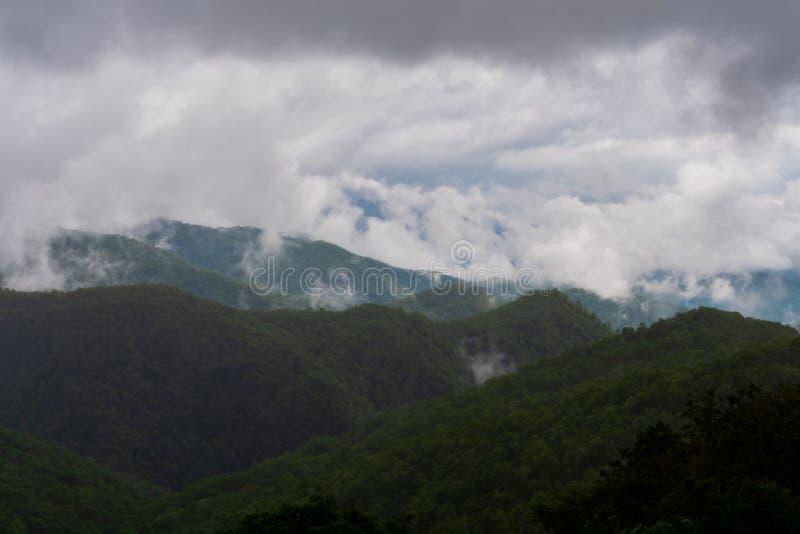 Дождевые облака покрывают темные ые-зелен верхние части горы стоковая фотография