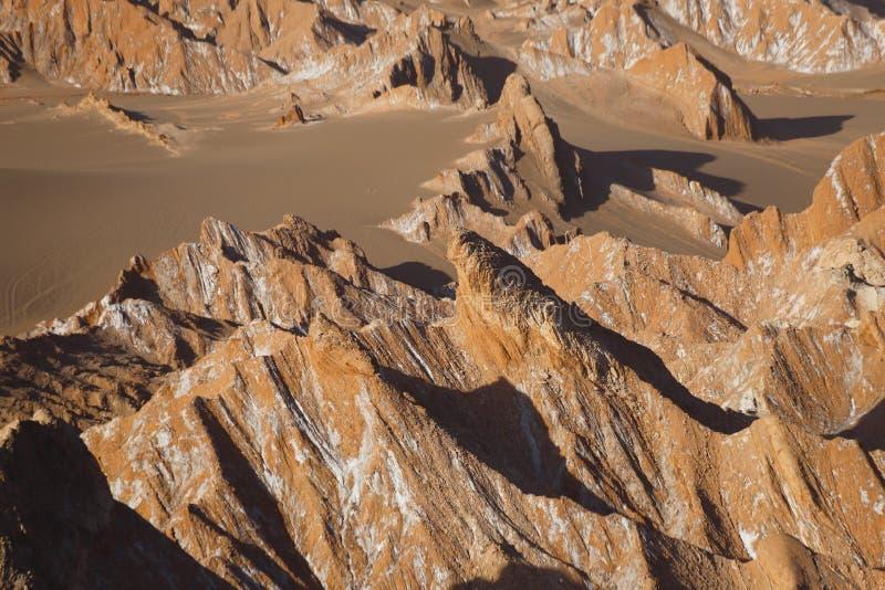 Долина Марса - Valle de Marte и Кордильеры de Ла Соль, пустыня Atacama, Чили стоковые фото