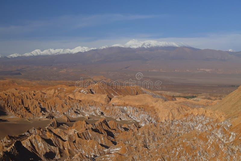 Долина Марса - Valle de Marte и покрытые снег вулканы, пустыня Atacama, Чили стоковое фото