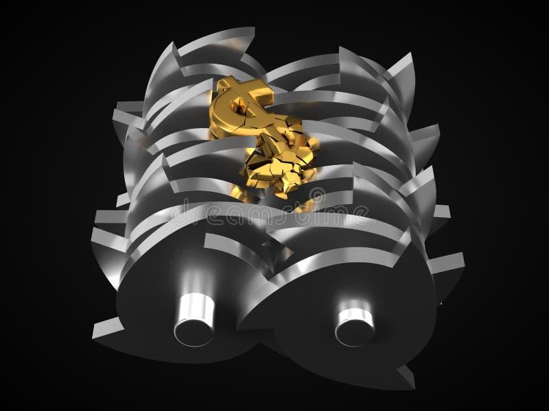 Доллар упаденный в шредер изображение res кризиса принципиальной схемы цифрово хозяйственное произведенное высокое иллюстрация 3d бесплатная иллюстрация