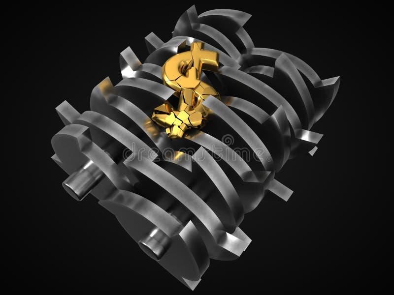 Доллар упаденный в шредер изображение res кризиса принципиальной схемы цифрово хозяйственное произведенное высокое иллюстрация 3d иллюстрация штока