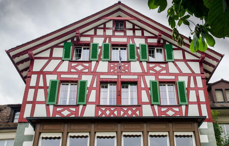 Дома винтажного тимберса обрамляя на городе Schaffhausen Швейцария стоковое фото rf