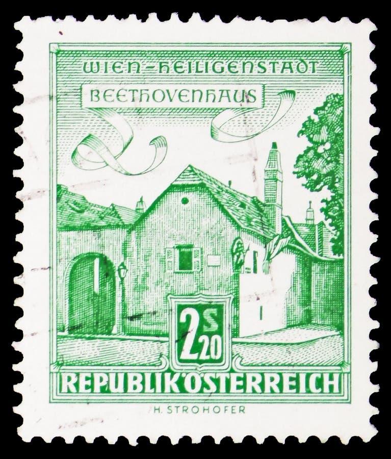 Дом Бетховен, Вена-Heiligenstadt, здания serie, около 1960 стоковая фотография