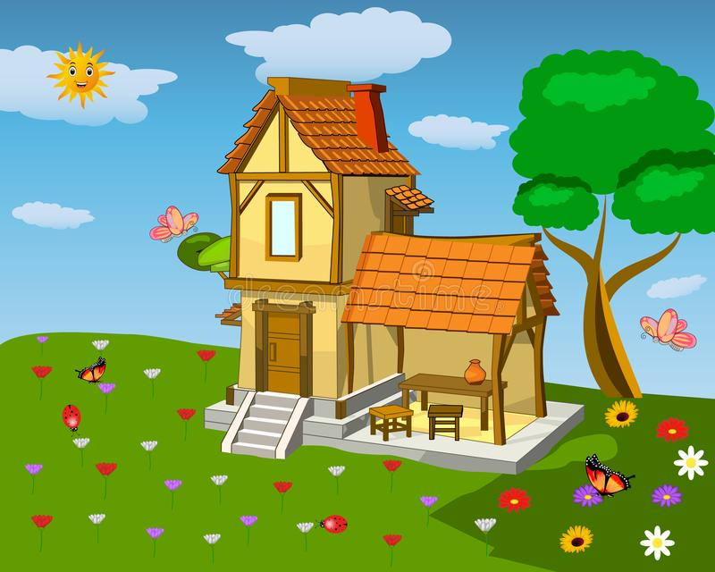 Landscape on a green summer lawn around the house. With flowers, butterflies and ladybirds vector illustration
