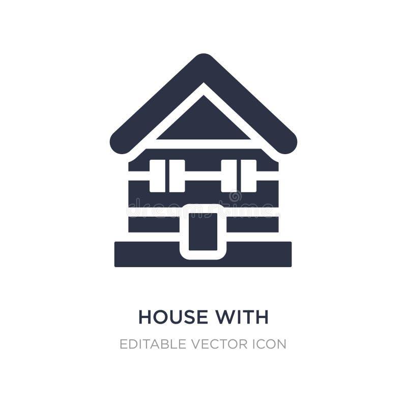 дом с деревянным значком крыши на белой предпосылке Простая иллюстрация элемента от концепции зданий бесплатная иллюстрация