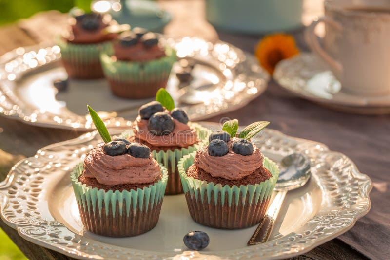 Домодельная булочка шоколада служила с кофе в саде стоковые изображения rf