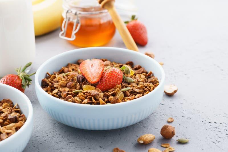 Домодельный здоровый granola овса со свежими ягодами стоковые фотографии rf