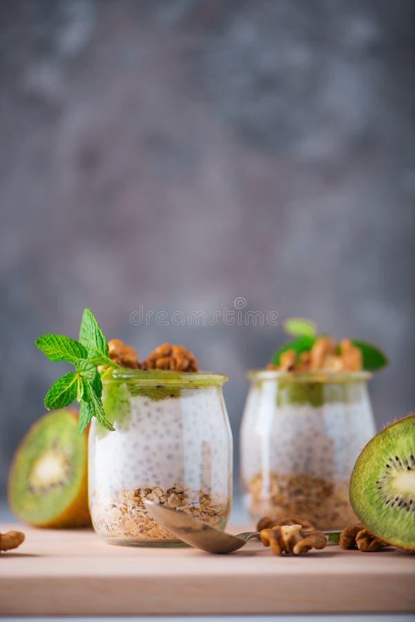 Домодельный пудинг семян Chia и молока миндалины с хлопьями и пюрем кивиа с грецкими орехами и мятой в стеклянных опарниках Vegan стоковые фотографии rf