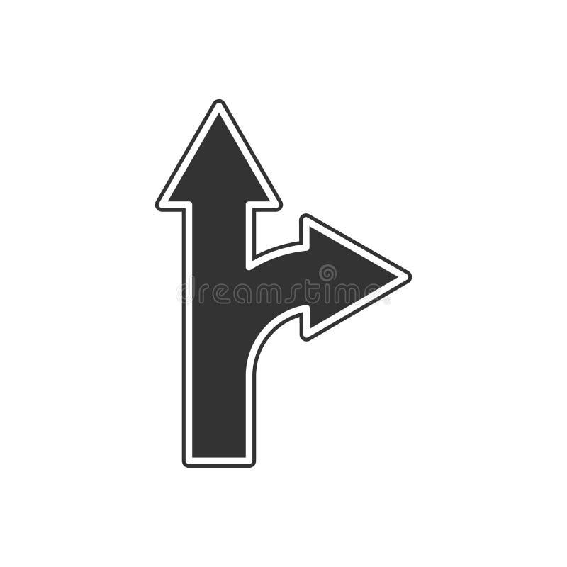 дорожный знак с значком отклонения Элемент навигации для мобильных концепции и значка приложений сети Глиф, плоский значок для ди иллюстрация вектора