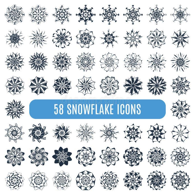 Ð ¡ ollection elegante eleganccy płatki śniegu odizolowywający ilustracji