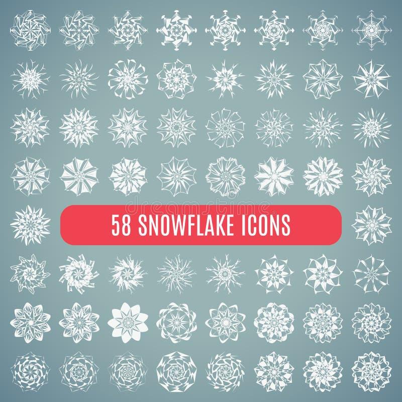 Ð ¡ ollection elegante eleganccy płatki śniegu odizolowywający royalty ilustracja