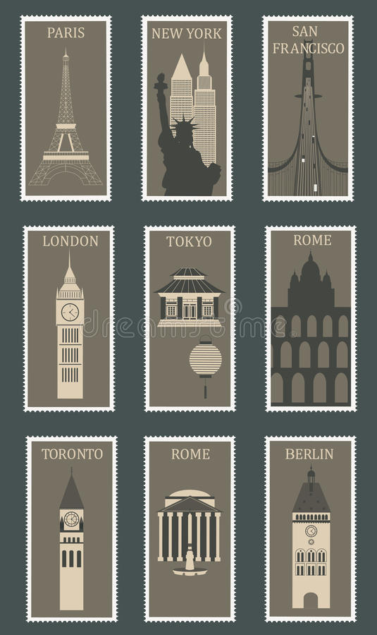 Download Stamps with famous cities. stock vector. Image of paris - 30108549