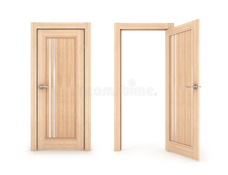 Ð-¡ ollection von Türen, geschlossen und von offener Tür, stock abbildung