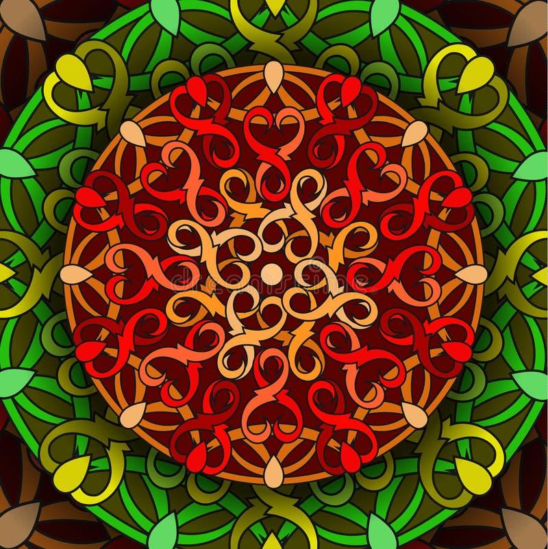 Ð ¡ olour dekoracyjny tło z kurenda wzorem mandala ilustracji