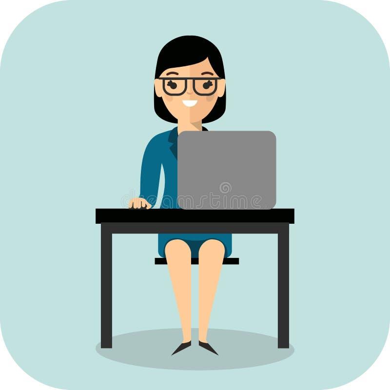 Ð ¡ oncept van het leren met leraar, lijst en computer royalty-vrije illustratie