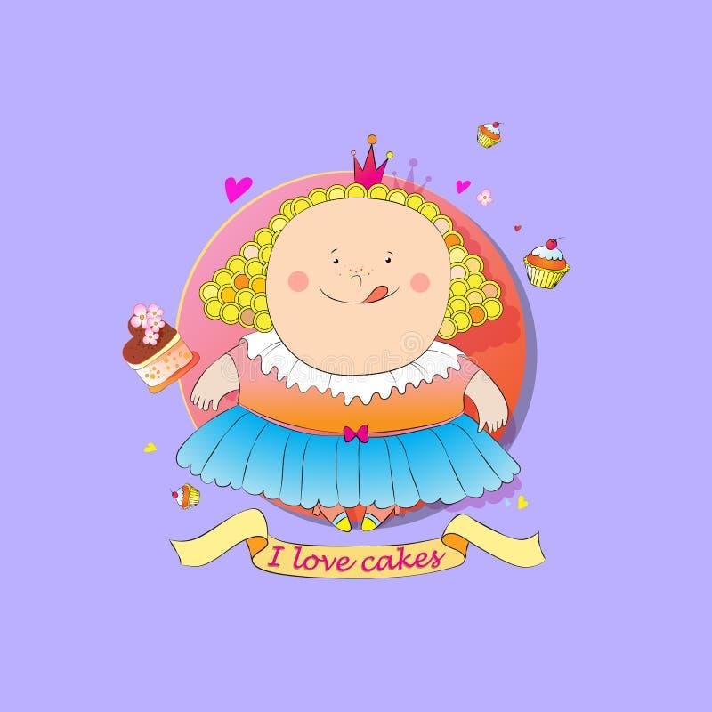 Ð ¡ pikapu tłuściuchny princess kocha torty ilustracja wektor