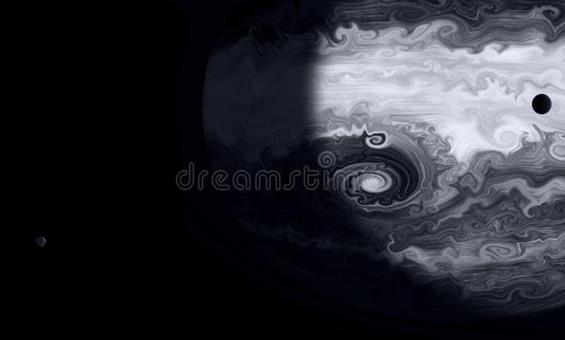 аrt是空间、抽象、极大的泛光灯和他的月亮 向量例证