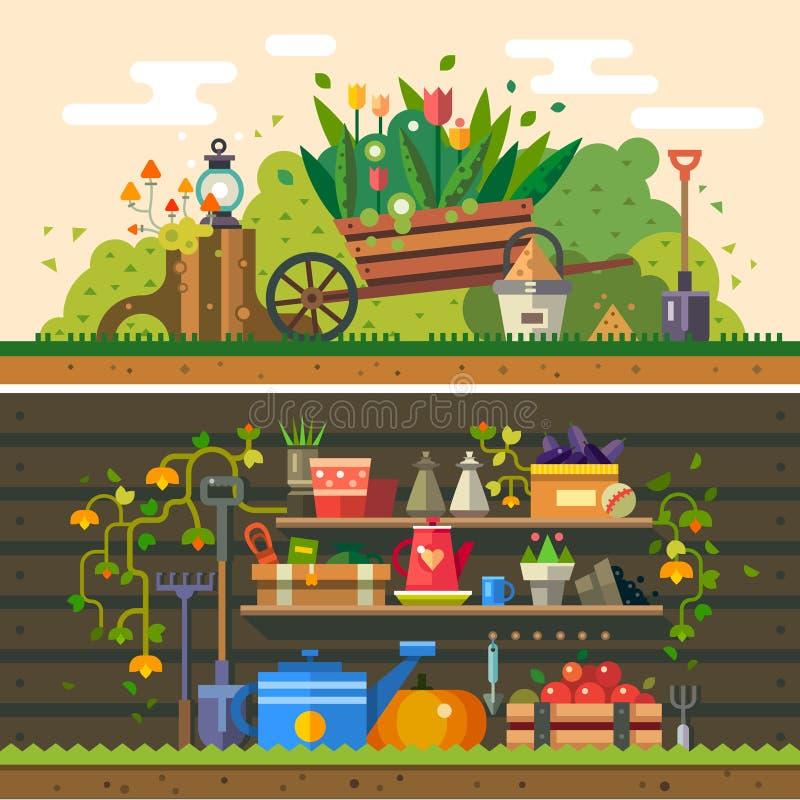 Ð ¡ ultivation, praca w ogródzie ilustracja wektor