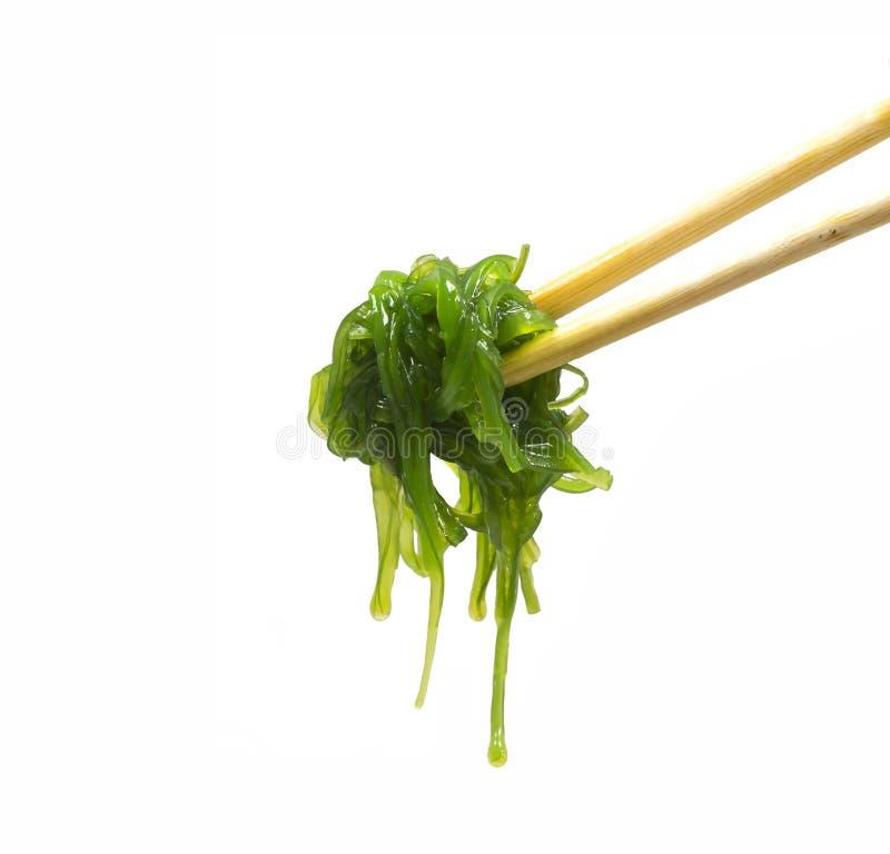 Салат морской водоросли изолировал на белизне Палочки и салат chuka стоковое изображение rf