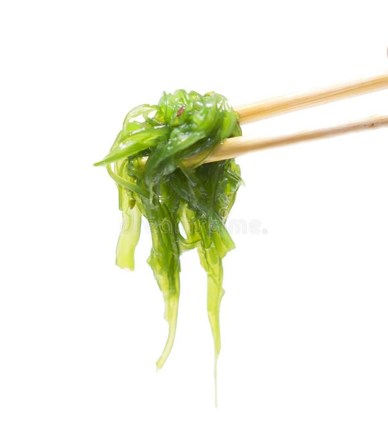 Салат морской водоросли изолировал на белизне палочки стоковые изображения rf