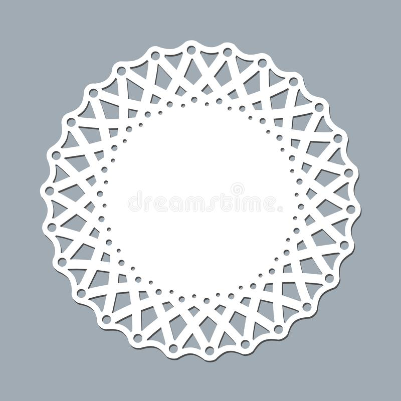 Салфетка шнурка шаблона плана для бумаги лазера режа круглый модель-макет орнамента картины белой рамки lasercut салфетки doily ш иллюстрация штока